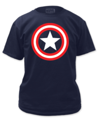 Captain America Shield on Navy Adult T-shirt