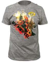 Deadpool Outta The Way Heather Grey Cotton Short Sleeve Adult T-shirt