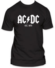 AC/DC EST. 1973 Black 100% Cotton Short Sleeve Adult T-shirt