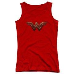 Wonder Woman Logo Red Cotton Juniors Tank Top T-shirt