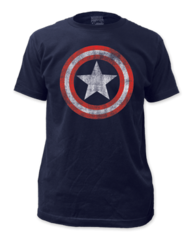 Captain America Distressed Shield Adult T-shirt
