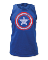 Captain America Distressed Shield Adult Tank Top T-shirt