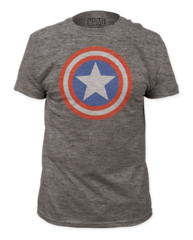 Captain America Shield on Heather Adult T-shirt