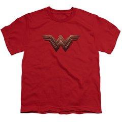 Wonder Woman Logo Red Cotton Short Sleeve Youth T-shirt