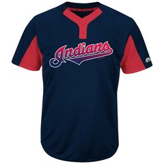 Cleveland Indians Majestic MLB Two Button Color Blocked Jersey