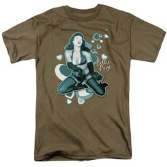Bettie Page Come Back Safari Green Short Sleeve Adult T-shirt