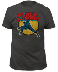 Black Panther Punch Charcoal Short Sleeve Adult T-shirt