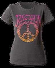 Janice Joplin Peace Heavy Metal Grey Short Sleeve Women's T-shirt