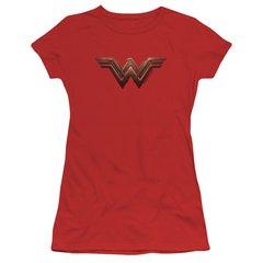 Wonder Woman Logo Red Cotton Short Sleeve Junior T-shirt