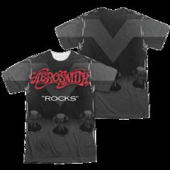 Aerosmith Rocks Sublimation Print Front and Back Adult T-shirt