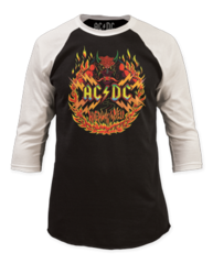 AC/DC Flames Black and White Baseball Jersey T-shirt