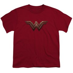Wonder Woman Logo Cardinal Cotton Short Sleeve Youth T-shirt