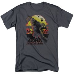 Kong Skull Island Sunset Charcoal Short Sleeve Adult T-shirt