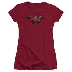 Wonder Woman Logo Cardinal Cotton Short Sleeve Junior T-shirt