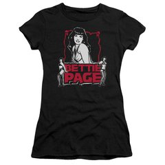 Bettie Page Bettie Scary Hot Black Short Sleeve Junior T-shirt