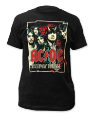 AC/DC Highway Illustration Black Cotton Short Sleeve Adult T-shirt