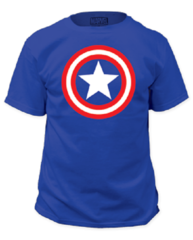 Captain America Shield on Royal Adult T-shirt