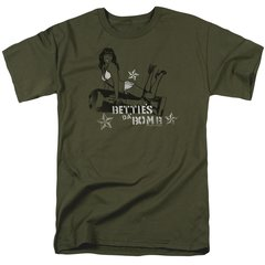 Bettie Page Da Bomb Military Green Short Sleeve Adult T-shirt