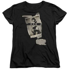 Bettie Page Newspaper and Lace Black Short Sleeve Women's T-shirt