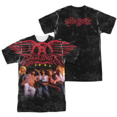 Aerosmith Stage Sublimation Print Front and Back Adult T-shirt