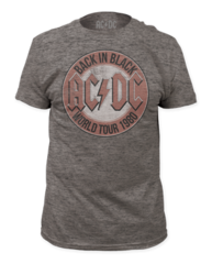 AC/DC World Tour 1980 Heather Grey Short Sleeve Adult T-shirt