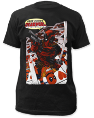 Deadpool Here Comes Deadpool Black Cotton Short Sleeve Adult T-shirt