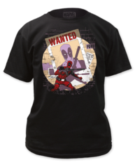 Deadpool Wanted Black Cotton Short Sleeve Adult T-shirt