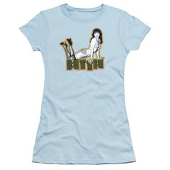 Bettie Page Lounging Light Blue Short Sleeve Junior T-shirt