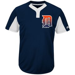 Detroit Tigers Majestic MLB Two Button Color Blocked Jersey