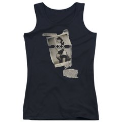 Bettie Page Newspaper and Lace Black Tank Top Junior T-shirt