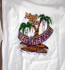 Mardi Gras Bead Frenzy Adult T-shirt