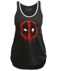 Deadpool Splatter Black Cotton Womens Tank