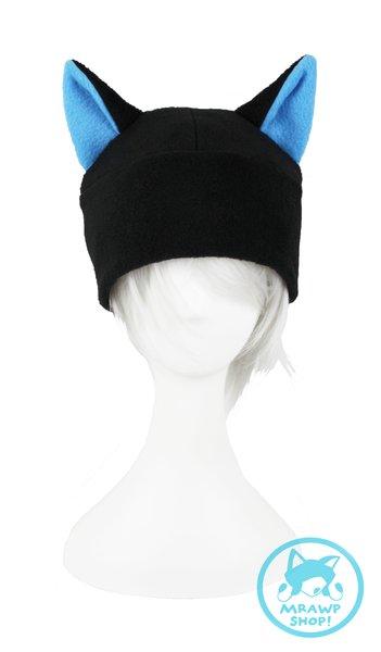 Black Cat Hat - Blue Ears Beanie Style