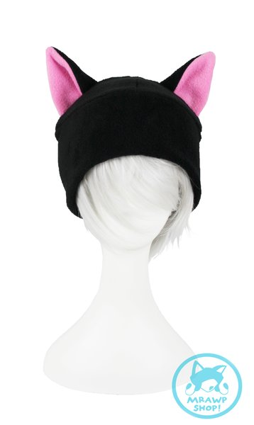 Black Cat Hat - Pink Ears Beanie Style
