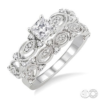 14K White Gold and Diamond Elegance Engagement Ring Set 34 Ctw