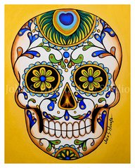 Sugar Skull Peacock art greeting card