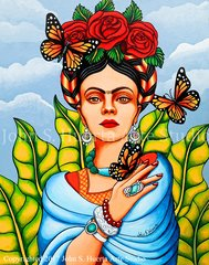 Frida with Butterflies