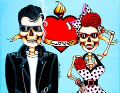 Rock-A-Billy Love 5x7 art greeting card