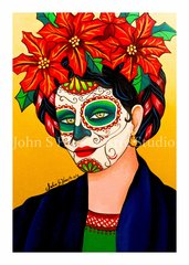 Frida poinsetta set of 12 Holiday blank greeting cards