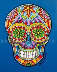 """Sugar Skull Blue"" 8x10 signed matted print"