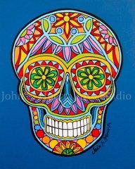"""Sugar Skull I"" 16x20 signed matted print"