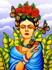 """Frida with Butterflies"" 16x20 signed matted print"