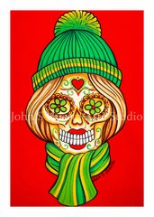 Red scarf and hat sugar skull set of 12 Holiday blank greeting cards
