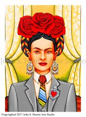 Frida in Suit acrylic on watercolor paper