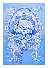 Snow Sugar skull set of 12 Holiday blank greeting cards
