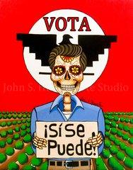 """Cesar Chavez Vota"" 16x20 signed matted print"