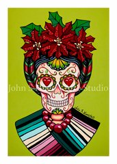 Frida sugar skull set of 12 Holiday blank greeting cards