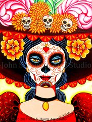 La Muerta Original acrylic on canvas 14x18