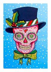 Top Hat sugar skull set of 12 Holiday blank greeting cards