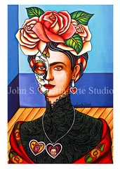"""Frida in black lace"" art greeting card"